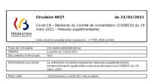 Mesures Covid au 24/03/21